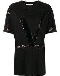 Valentino Vロゴ スパンコール Tシャツ - ブラック