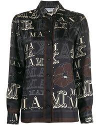 Max Mara ロゴ フローラル シャツ - ブラック