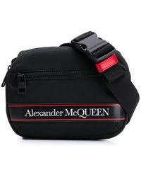 Alexander McQueen ロゴストライプ ベルトバッグ - ブラック