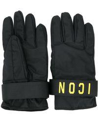 DSquared² Icon Print Gloves - Black