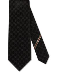 Gucci GG Pattern Silk Tie - Black