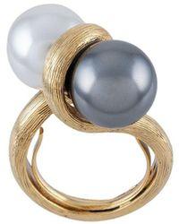 Oscar de la Renta Double Pearl Ring - Metallic
