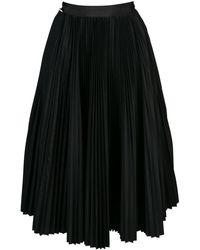 Sacai アシンメトリープリーツスカート - ブラック