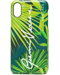 Versace Leaf Print Iphone Xs Case - Green