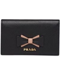 Prada Saffiano Leather Card Holder With Bow - Black