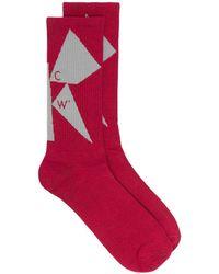 A_COLD_WALL* Shard Intarsia-knit Socks - Pink