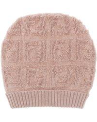 Fendi Beanie mit FF-Muster - Pink