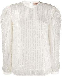 Twin Set Блузка С Длинными Рукавами И Вышивкой - Белый