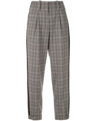 Martha Medeiros Tapered Check Pants - Gray