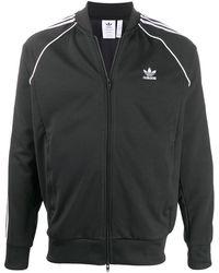 adidas ストライプトリム トラックジャケット - ブラック
