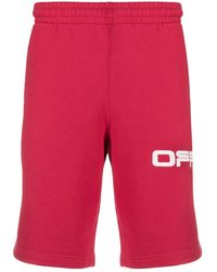 Off-White c/o Virgil Abloh Airport Tape Track Shorts - Red