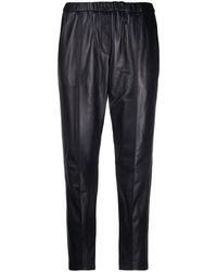 Yves Salomon Cropped Leather Pants - Black
