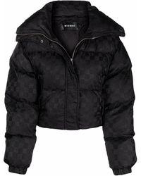 MISBHV Monogram-print Cropped Puffer Jacket - Black