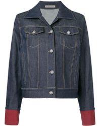 Bottega Veneta Contrast Cuff Denim Jacket - Blue