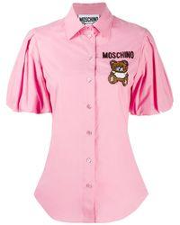Moschino Camisa con bordado Teddy Bear - Rosa