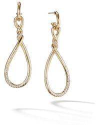David Yurman - 18kt Yellow Gold Continuance Diamond Twist Drop Earrings - Lyst