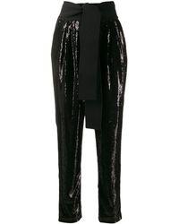 P.A.R.O.S.H. Sequin Wrap Waist Trousers - Black
