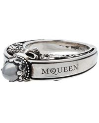Alexander McQueen Metallic Silver Engraved Skull Ring