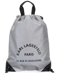 Karl Lagerfeld Rue St Guillaume Drawstring Backpack - Grey