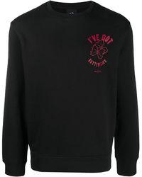 Armani Exchange プリント スウェットシャツ - ブラック