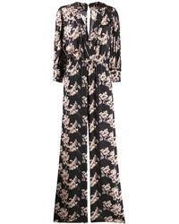 IRO フローラル Vネックドレス - ブラック