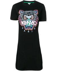 KENZO ブラック タイガー フレア T シャツ ドレス