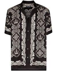 Dolce & Gabbana - ブラック And ホワイト シルク ハワイアン シャツ - Lyst