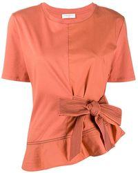 Sandro T-Shirt mit Zierbändern - Orange