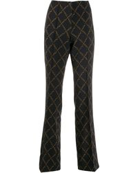 Cambio Chain Print Flared Trousers - Blue