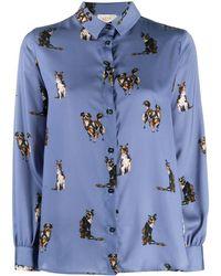 Altea Dog-print Pointed Collar Shirt - Blue