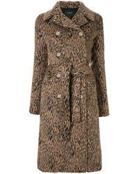 Giambattista Valli Animal-print Double Breasted Coat - Brown