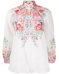 Zimmermann Блузка С Цветочным Принтом - Белый