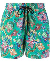 Etro Paisley-print Swim Shorts - Green