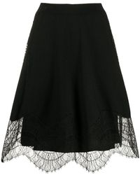 Givenchy Lace Details A-line Skirt - Black