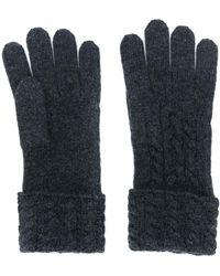N.Peal Cashmere Kabelgebreide Handschoenen - Zwart