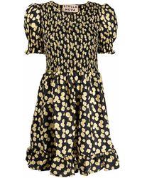 Stella Nova Abstract-print Short-sleeve Dress - Black