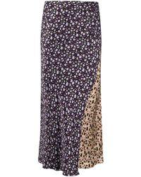Chinti & Parker Patchwork Floral Print Skirt - Black