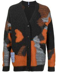 McQ Logo Patch Intarsia-knit Cardigan - Orange