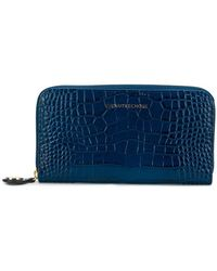 L'Autre Chose Crocodile Embossed Wallet - Blue