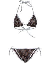 Fendi Bikini à motif monogrammé - Marron