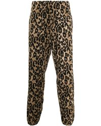 Roberto Cavalli Jacquard Leopard Track Trousers - Black