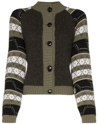 Ganni Patterned Button-down Cardigan - Green