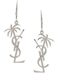 Saint Laurent Boucles d'oreilles pendantes à logo - Métallisé