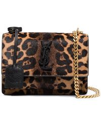 Saint Laurent - Brown Sunset Monogram Ponyskin Leopard Print Bag - Lyst