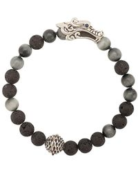 John Hardy Silver And Sapphire Legends Naga Mixed Bead Bracelet With Station - Black