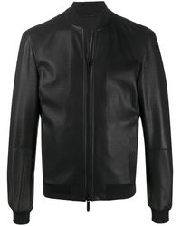 Emporio Armani Leather Bomber Jacket - Black