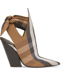 Burberry Tie-detail Check Mules - Brown