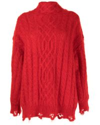Toga Cable-knit High Neck Sweater - Red