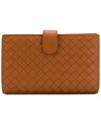 Bottega Veneta フラップ財布 - ブラウン