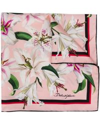 Dolce & Gabbana Lily Print Foulard - Pink
